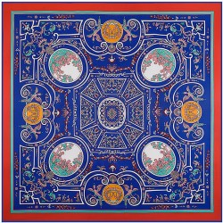 "51"" Blue Maze Labyrinth Silk Twill Square Scarf"