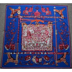 "51"" Royal Order Silk Twill Scarf Blue and Pink"