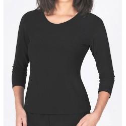 Size 1-X-Large Black Three-Quarter Sleeve Crepe Higher Neckline Top