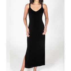 Size 1-X-Large Black Crepe Tank Dress with Thin Straps