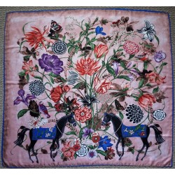 "51"" Floral Horse Print Silk Twill Square Scarf"