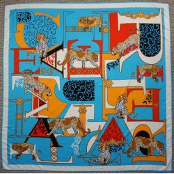 "51"" Turquoise Big Cat Silk Square Scarf"