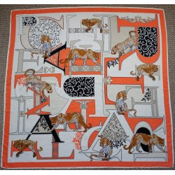 "51"" Apricot Big Cat Silk Square Scarf"