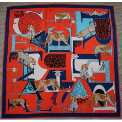 "51"" Big Cat Silk Square Scarf Navy and Red"