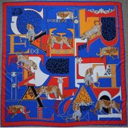 "Big Cat Silk Square Scarf 51"" Royal Blue"