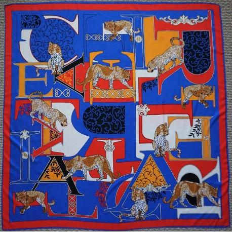 "51"" Big Cat Silk Square Scarf Royal Blue"