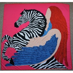 "51"" Silk Twill Scarf Pegasus in Bright Cool Colors"