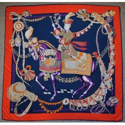 """51"""" Royal Rider Silk Twill Scarf Navy and Red"""