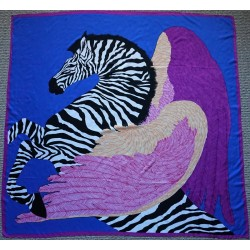 "51"" Silk Twill Scarf Pegasus in Royal Blue"