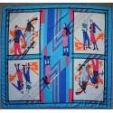 "51"" Elegant Sporty 100% Twill Silk Scarf Turquoise Blue"