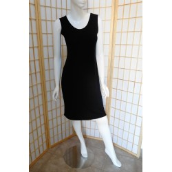 Size 1-X-Large Black Crepe Tank Short Dress with Wide Straps