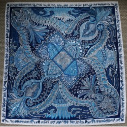 """51"""" Perfect Blues Twill Silk Summer Weight Classic Square"""