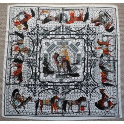 "51"" Neutral Colors Horse Print Silk Twill Square Scarf"