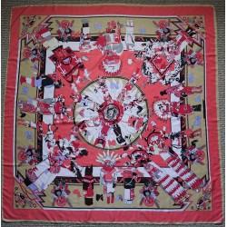 """51"""" Ancient Scene Warm Dramatic Colors Silk Twill Square"""