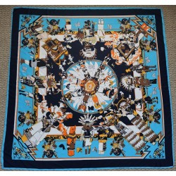 "51"" Ancient Scene Navy & Turquoise Square Silk Twill Square"