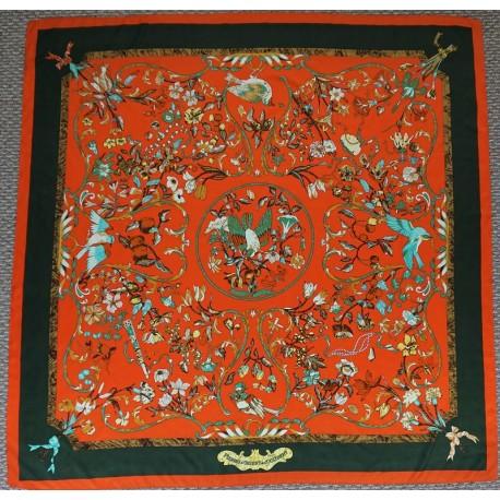 "51"" Flowers and Birds Deep Green & Orange 100% Silk Twill"