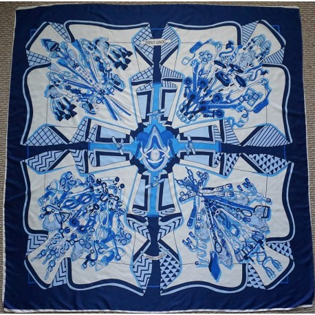 "51"" Blue and White Equestrian Chain Print Silk Twill Square Scarf"