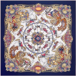 "51"" Carousel Square Scarf Navy & Tan 100% Silk Twill"