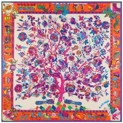 "51"" Tree of Life Bright on White 100% Silk Twill Square Scarf"